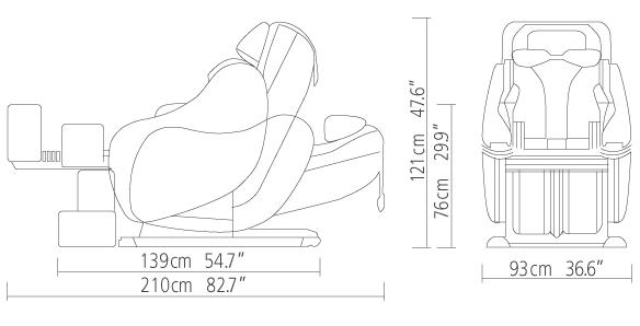 kích thước ghế massage